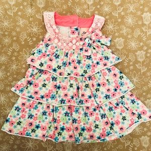 Little Lass Girls Layered Floral Halter Dress